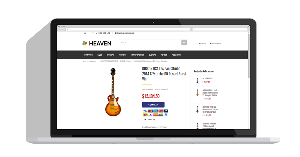 Heaven Commerce pantalla